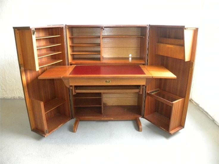 Unique vintage trunk style english secretary desk work for Unique looking desk