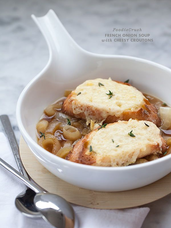 Easy French Onion Soup with Cheesy Croutons | Recipe