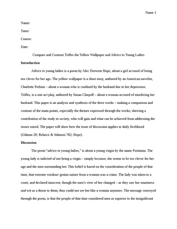 annotated bibliography on trifles The play trifles by susan glaspell is one of the shortest plays that i have read it is also one of the least dramatic and extremely difficult to interpret plays.