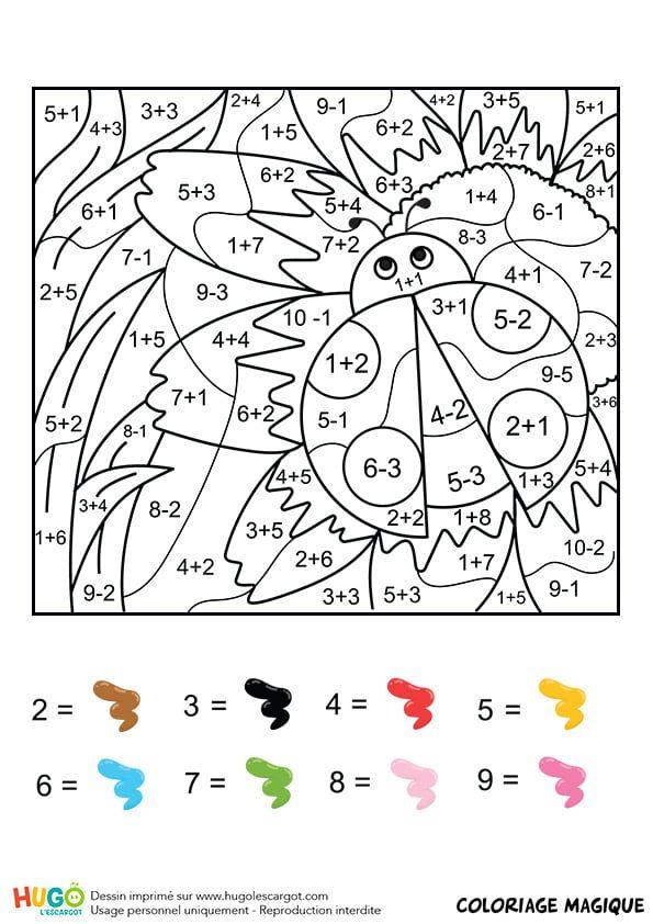 Coloriage et illustration d'un coloriage magique CE1 additions et soustractions : une coccin ...