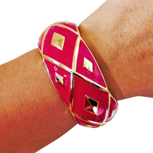 Fitbit Bracelet for Fitbit Flex Fitness Trackers - The MIMI Magenta Pink and Gold Hinge Bangle Fitbit Bracelet by Funktional Wearables