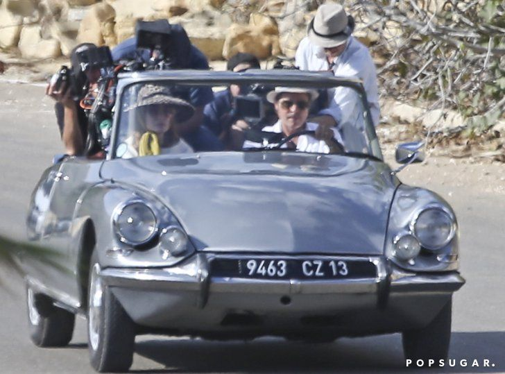 Pin for Later: Can't-Miss Celebrity Pics!  Angelina Jolie and Brad Pitt filmed a car scene for their upcoming movie By the Sea in Malta on Monday.