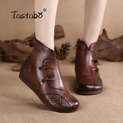 Tastabo Handmade Ankle Boots Slip-on Retro Boots Shoes Women Fashion Soft Genuin…
