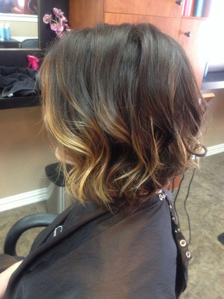 Baylayage short hair bob lob messy curl beach wave Captiva salon and spa denton tx 940-556-1999