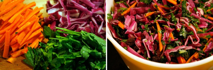 Kale & Red Cabbage Slaw With Vidalia Onion Vinaigrette  #Recipe from Lady Smokey  http://dolangeiman.com/blog/2012/05/cooking-with-lady-smokey-simple-delicious-spring-recipes/: Red Cabbage, Recipe Ideas, Vidalia Onions, Vinaigrette Recipe, Cabbage Slaw, Salads Cold