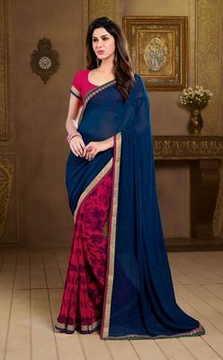 Blue and pink printed georgette saree with blouse