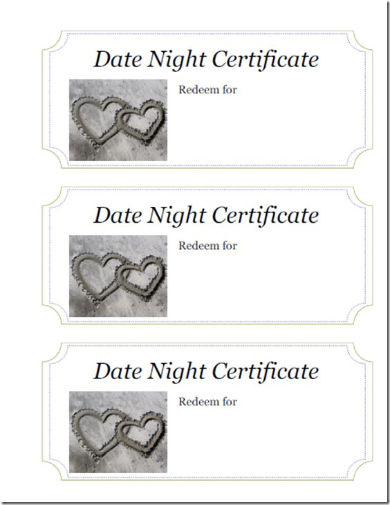making your significant others holiday brighter with a date night themed gift printable certificatesdate