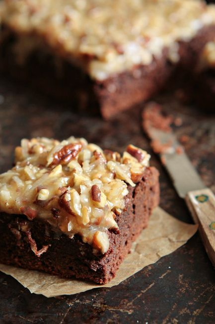 German Chocolate Brownies Recipe. Decadent brownies topped with an irresistibly delicious nutty coconut frosting!