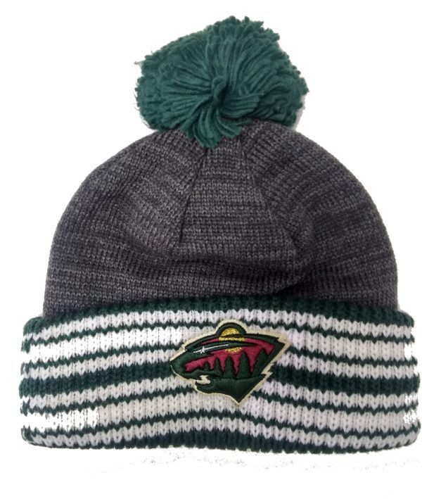 9561b7e31e540d NHL Licensed Minnesota Wild Stocking Cap is made by adidas. The hat is gray with  green and white stripes at the bottom. The applique of the Wild Logo is at  ...