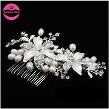 handmade hair accessories bridal rhinestone enemal flowers hair comb freshwater pearl hair jewelry wholesale wedding accessories