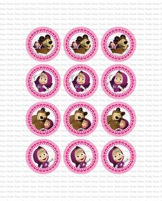 DIGITAL Masha and the Bear toppers - PRINT yourself - NOT sent by post/courier…