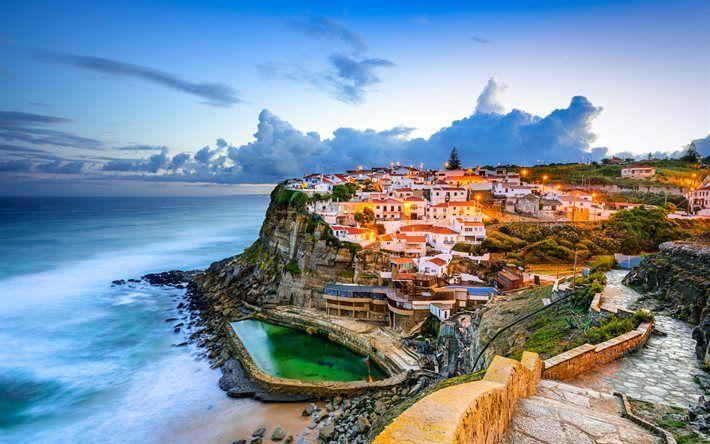 Lataa kuva Sintra, Azenhas do Mar, ocean, illalla, Portugali, Atlantin Valtameri