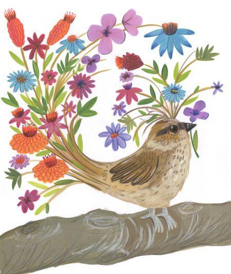 Kay Widdowson - Flower Bird Brown