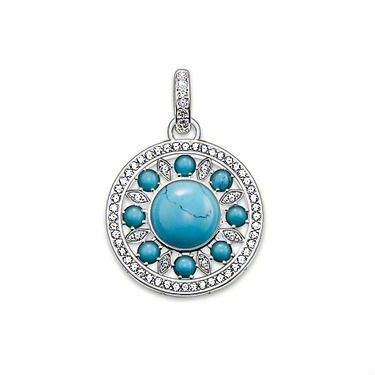 Wholesale jewelry / new turquoise round pendant charm fit necklace / 925 silver pendant Free Shipping TS1222 $4.99