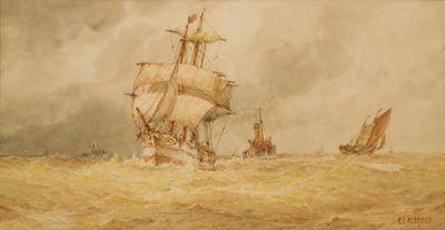 A strong Sou-wester - Frederick James Aldridge FJ original signed oil paintings and watercolours -  Robert Perera Fine Art Gallery of Lymington