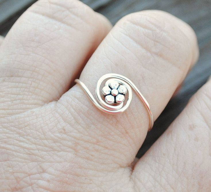 Adjustable Wire Wrapped Ring Tiny Flower Bead by LorisWireJewelry