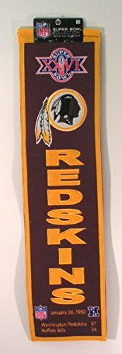 NFL Washington Redskins Super Bowl XXVI Banner  https://allstarsportsfan.com/product/nfl-washington-redskins-super-bowl-xxvi-banner/  A uniquely hand-crafted, vintage style, wool banner featuring intricate embroidery and applique design detail. Genuine wool blend fabric. This unique wool, vintage style banner is decorated with distinctive embroidery and applique detail, and highlights past Super Bowl Champions. Ideal as a gift or for decorating an office, gameroom or bedroom.