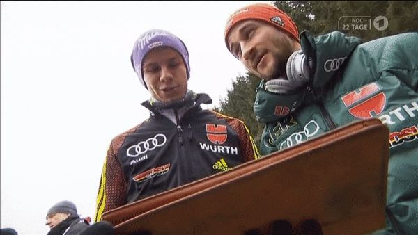 """printzess-blog: """"They making fun of Rich, they don't think he can sing, and say it is good he makes his money in ski jumping :) """""""