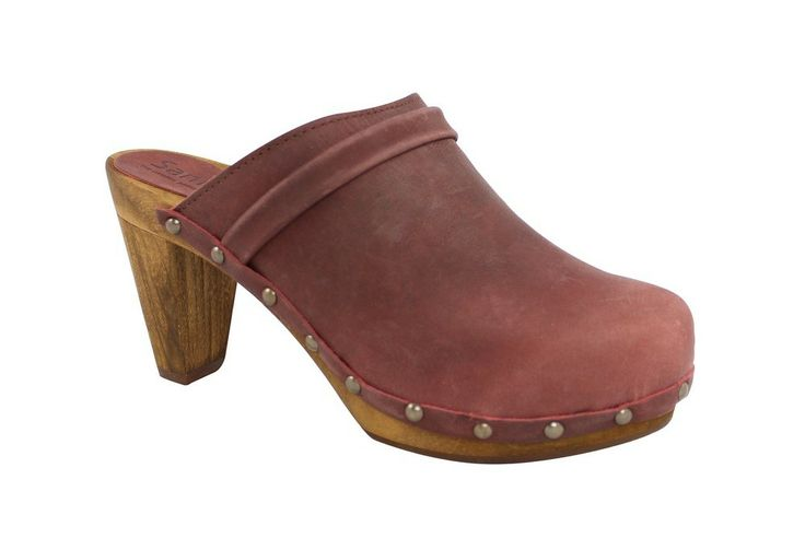 Sanita Tanya High Heel Slip in Clogs in Rust Nubuck Leather