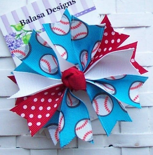 Boutique Red and Blue Baseball Spike Hair Bow...need to figure out how to make this one =)  super cute!