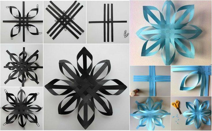 origami de Noël remarquable - réaliser des flocons de neige en papier noir et bleu