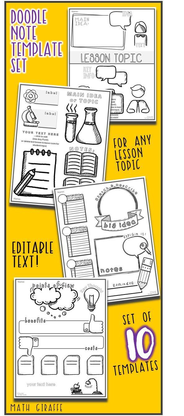 editable doodle note templates set 2 middle school math concepts