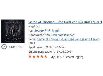 """Gratis: Hörbuch """"Game of Thrones"""" mit 9 Stunden bei Audible für 0 Euro https://www.discountfan.de/artikel/c_gratis-angebot/gratis-hoerbuch-game-of-thrones-mit-9-stunden-bei-audible-fuer-0-euro.php Neun Stunden Hör-Genuss vom Feinsten: """"Game of Thrones – Das Lied von Eis und Feuer 1"""" ist jetzt in einer ungekürzten Fassung bei Audible komplett gratis zu haben. Wer noch kein Kunde ist, kann sich mit seinen Amazon-Daten einloggen. Gratis: Hörbuch """"G"""