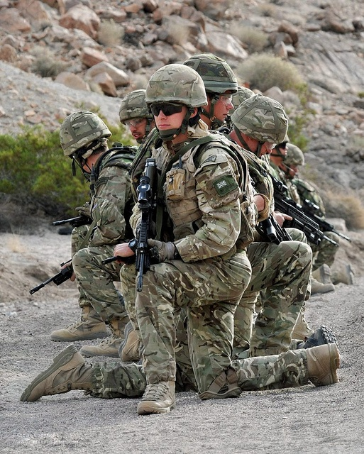 Royal Marines with 42 Commando are pictured during live firing traning in the Mojave Desert in California, USA.