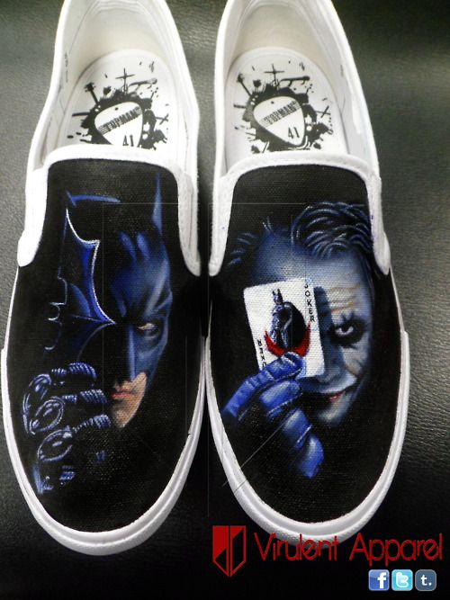 Virulent Apparel - Batman Dark Knight, Vans Slip ons. Custom Painted Shoes
