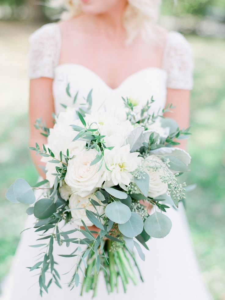 Eucalyptus, dahlias, garden roses, and ranunculus bouquet - all greens and white #cedarwoodweddings Courtney+Adam :: 10.29.2016 | Cedarwood Weddings