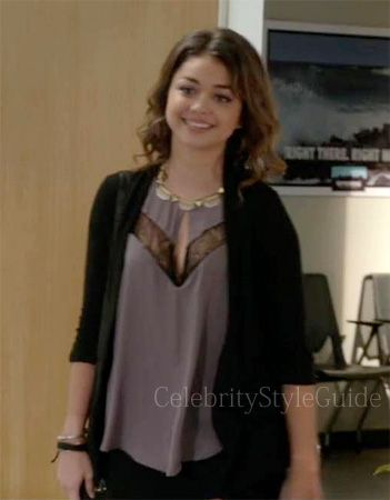 Seen on Celebrity Style Guide: Modern Family Style & Fashion: Sarah Hyland, as Haley Dunphy wore a ASTR Lace Inset Tank on Modern Family Season 5 Premiere