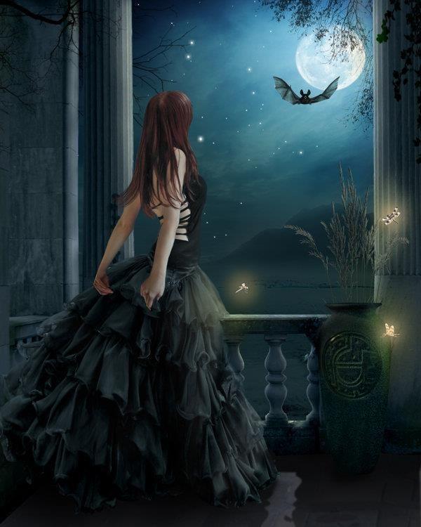 Goth dark glamour gothic illustration always blue for Gothic painting ideas