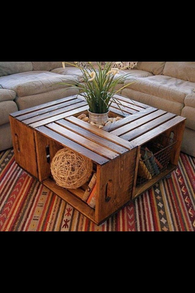 Ideas for Old Coffee Tables | DIY crate coffee table | DIY Ideas