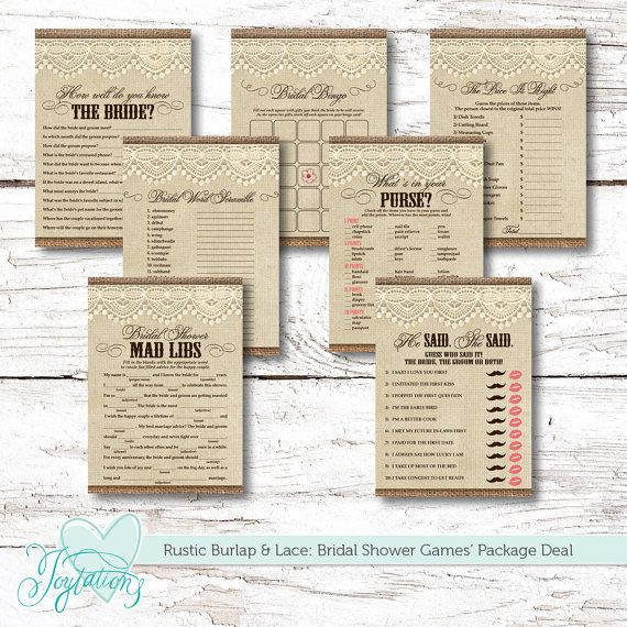 PRINTABLE! Rustic Burlap and Lace Bridal Shower Games' Package Deal - 7 games for $12.00 by Joytations