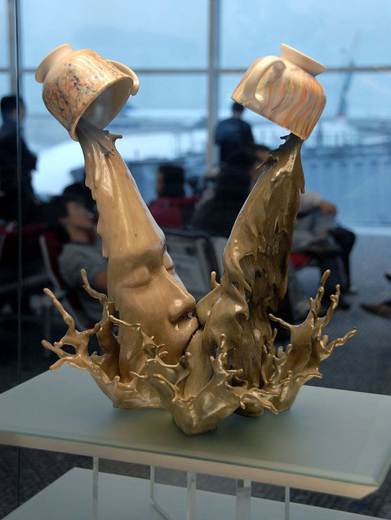 Pouring Coffe Sculpture by Johnson Tsang