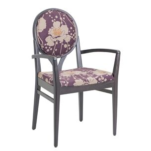Lorenza armchair covered in Florence Broadhurst Spotten Floral Plum by  #materialisedfabrics #fabricsfortherealworld #performancefabrics #florencebroadhurst