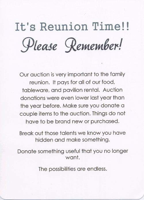 49th Annual Palmer Family Reunion invitation back