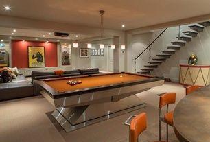 Contemporary Game Room with Billiard light, Tanga 5-Light Hanging Chrome Island Light, Projector, Modern Custom Pool Table