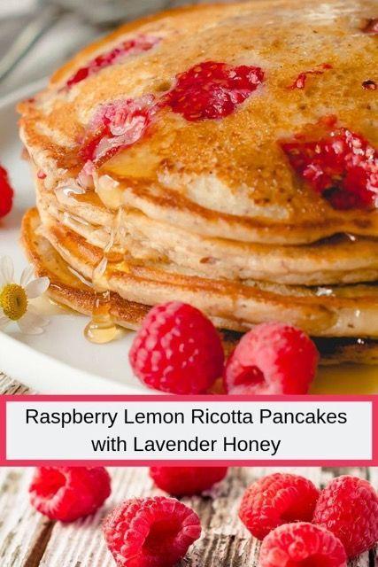 Raspberry Lemon Ricotta Pancakes with Lavender Honey