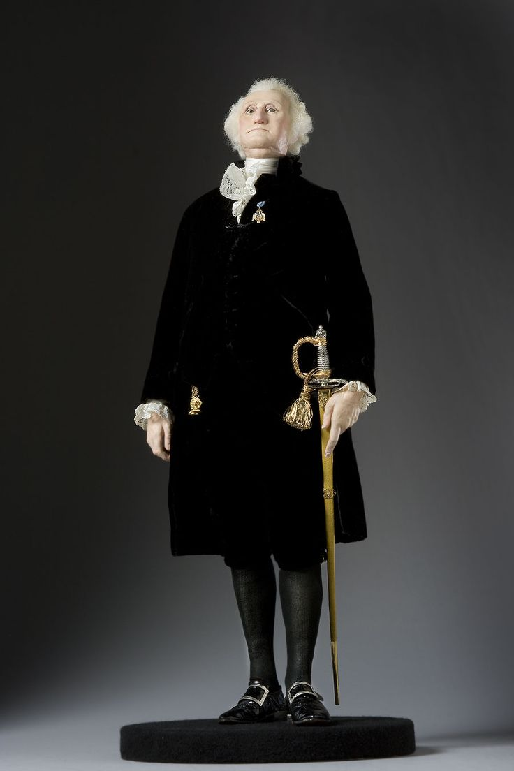 George Washington (President) - opposed British colonial policy and was a delegate to the Continental Congress. His strong military leadership was rewarded with election as the first President of the new United States of America. As President, he was a conciliator between liberal and conservative factions. The lone medal he wears was from the Society of Cincinatti, founded in 1783 for officers who served in the Revolutionary War.