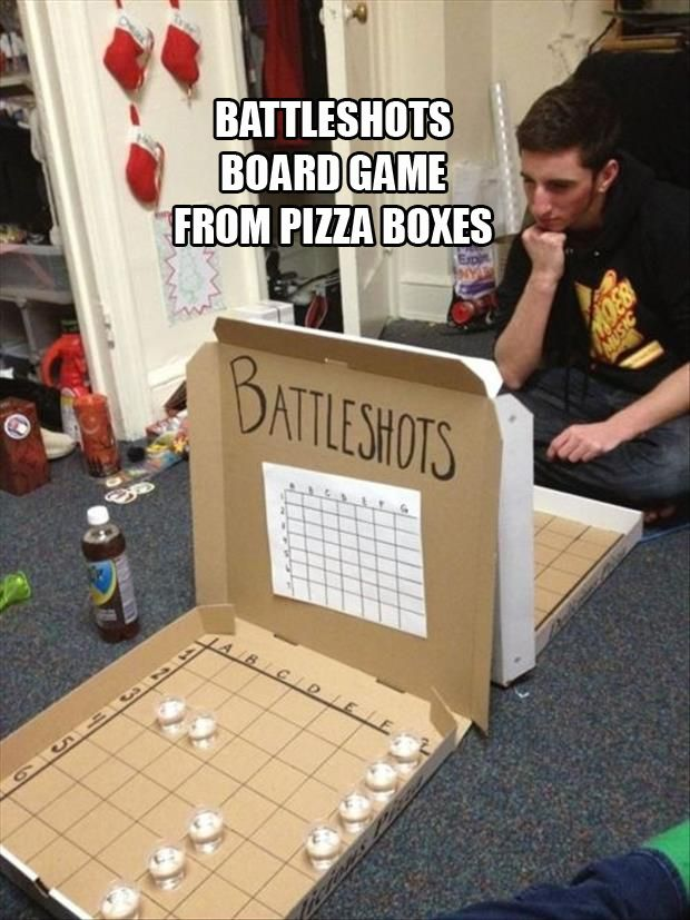 Pizza box battle ship!  Obviously if these were children there would be no shots...