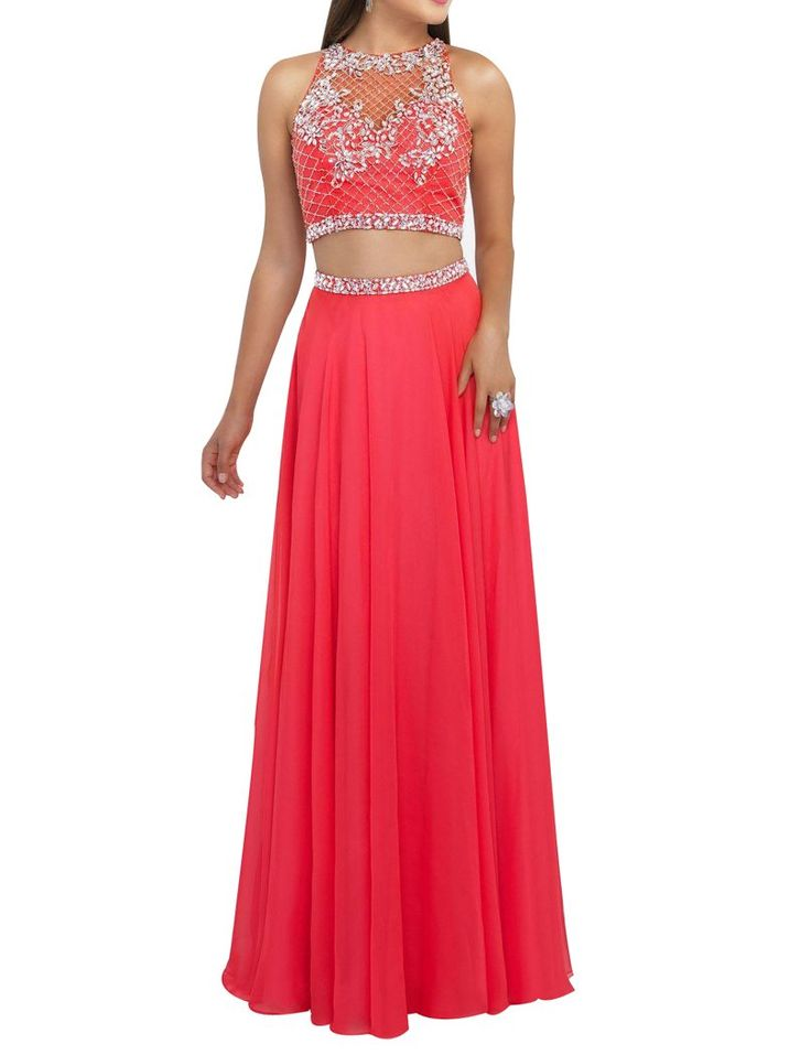 LISA.MOON Women's Jewel Open Back Rhinestone Two Piece Chiffon A Line Prom Dress Watermelon US16. 1.Chiffon,Beading,Rhinestone. 2.Two Piece,Jewel,Sleeveless,Open Back,Sash,A Line,Floor Length. 3.Made to Order!You can give us your size!(BUST,WAIST,HIP,HOLLOW TO FLOOR)When getting your order,we will contact you to make sure you have chosen the right measurements.If no reply,we will do it as our size.Thank you!. 4.The real color of the item may be different from the pictures shown on website...