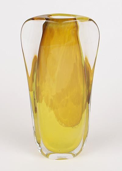 Found on www.botterweg.com - Heavy glass Unica vase unsigned except for MK lesser choice yellow glass core with clear glass overlay design Floris Meydam ca.1957 executed by Glasfabriek Leerdam / the Netherlands
