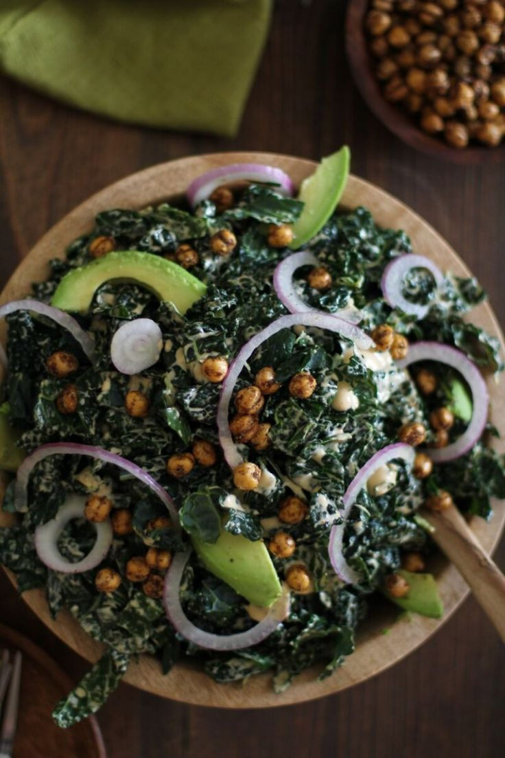Kale Caesar Salad with Avocado and Roasted Chickpeas | All Natural Specialty Foods | Gourmet World Cuisine | Saffron Road Food