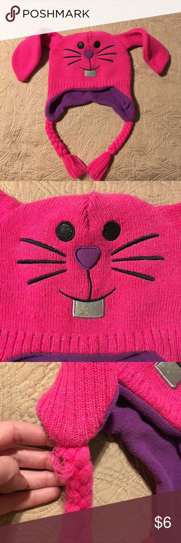 Knit Bunny Ear Cap Cute pink bunny cap with purple fleece lining. See photos for damage. One size fits most. Accessories Hats