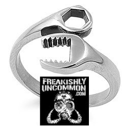Ladies Redneck Wedding Ring. http://shop.freakishlyuncommon.com/Stainless-Steel-Bands-wrenched-ladies.htm