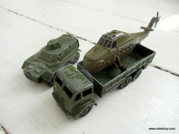 Vtg DINKY Diecast ARMY set dinky toys vintage Dinky 1950s 10 Ton Army Truck Armoured Personnel Carrier Royal Navy Helicopter Iowa Ertl  D08