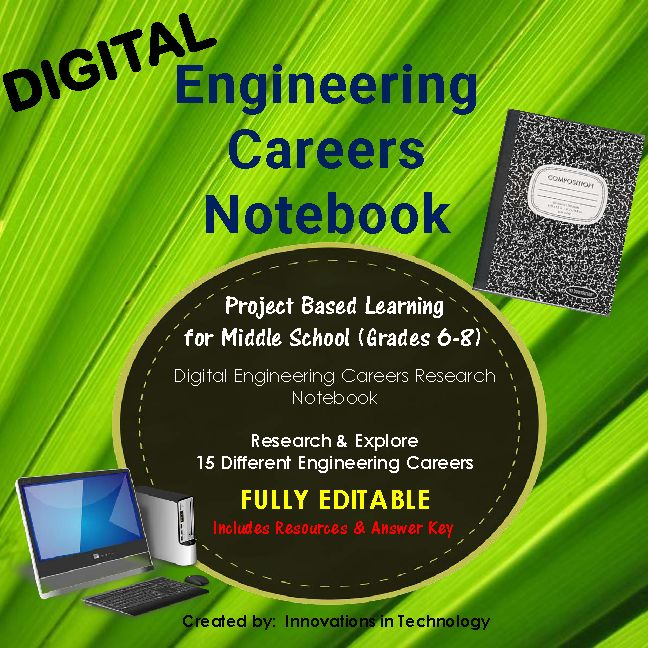 This fully editable, Engineering Career Research Notebook allows students to explore 15 different engineering careers. Teachers digitally send students the page(s) they need for the lesson via Google Drive (or other file sharing) or through a LMS such as Google Classroom or Edmodo. Students then add the specific career sheet to their file (digital notebook) and complete, following the teacher's instructions. Individual files for each career, as well as the full MS PowerPoint file.