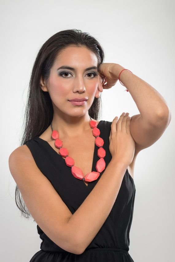 Wooden gems necklace coral color light and modern by LauraRosa