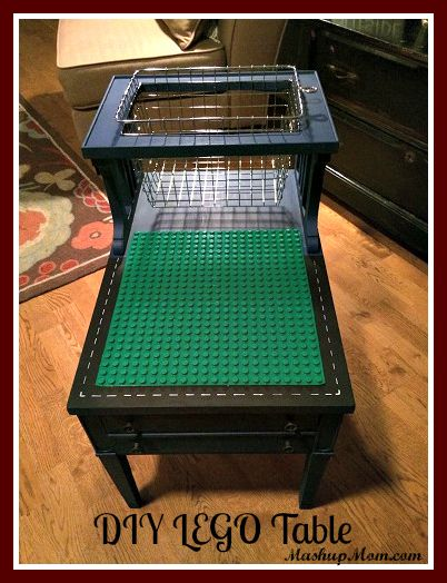 DIY LEGO Table - Repurpose a thrift store or garage sale find, or old end table. Easy to make DUPLO, too, and change out as kids get older!